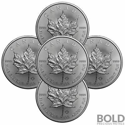2018 Silver 1 oz Canada Maple Leaf (5 Coins)