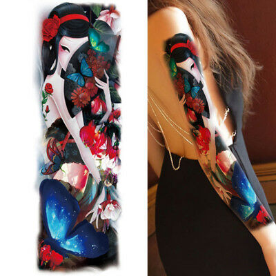 Chinese Women Fan Butterfly Rose Real Big Full Arm Temporary Tattoo Sleeve Tatoo