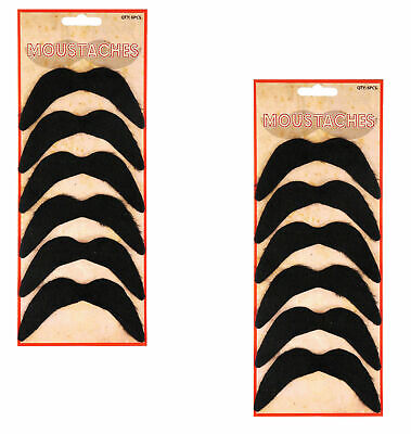 Pack of 6 or 12 Black Mexican 70's Stick on Fake Mustache Self Adhesive tash.