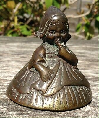 Gorgeous Antique Brass Small Shy Dutch Girl Bell Lovely Patina Dates 1920/30s