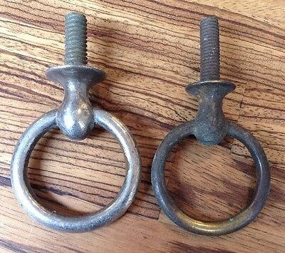 "Old Industrial Antique Brass Large Eye Hooks 2"" Diameter Lighting Ceiling"
