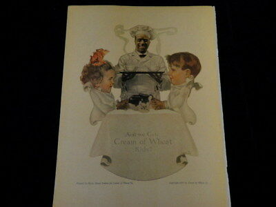 "Vintage 1917 Cream of Wheat Ad Ain't We Cute Kids 9""x12"" Black Americana J4"