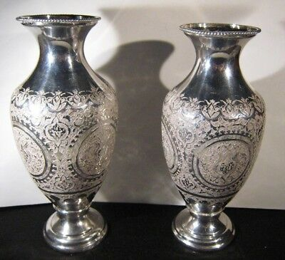 Antique Persian Silver Vases Pre Owned Set of 2       ** FREE U.S SHIPPING **