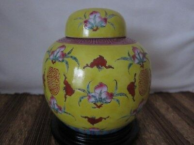 Unsual signed REPUBLIC period CHINESE porcelain famille jaune LIDDED GINGER JAR