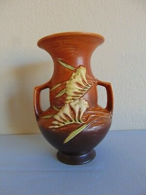 Vintage Roseville Pottery Two Handled Freesia Vase 122-8 Brown MINT Free Ship!