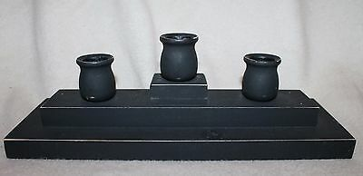 Black Wooden 3 Taper Candle Stick Holder Candleabra Primitive Country Rustic