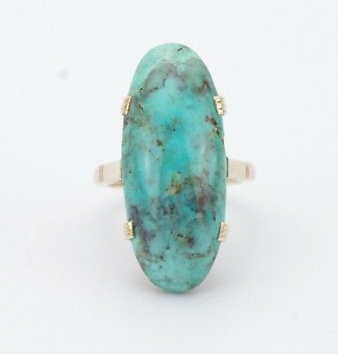 Vintage 14K Yellow/Rose Gold Oval Turquoise Statement Ring