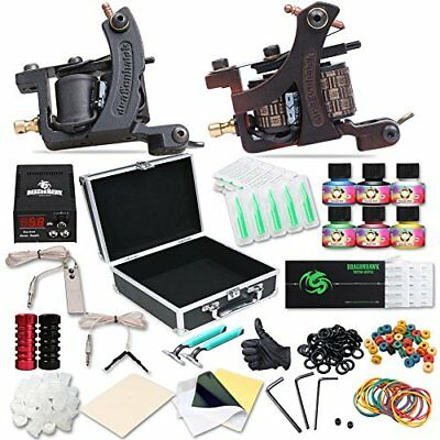 Tattoo Machine Complete Kit Professional Lining Shading Body 2 Gun 10 Ink Colors
