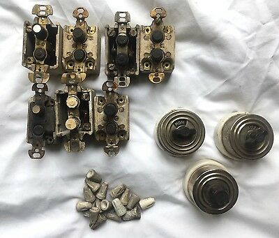 Vintage Porcelain Light Switch Lot Arrow , Perkins, Hart, Etc.