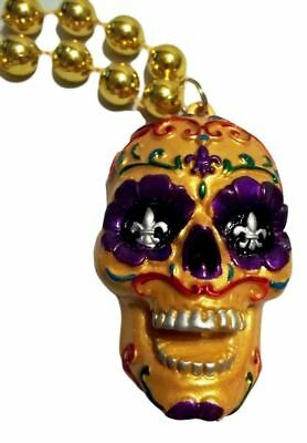 Orange Sugar Skull Day of the Dead Mardi Gras Beads Party Favor Necklace