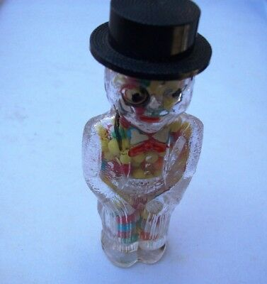 VINTAGE CHARLIE McCARTHY GLASS CANDY CONTAINER W/ ORIGINAL CONTENTS