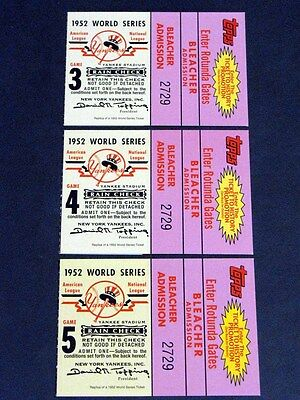 Lot (3) 2002 Topps Ticket to History 1952 World Series Games 3, 4 & 5 NY Yankees