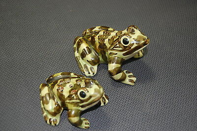 Vintage Brush McCoy Art Pottery Large & Small FROGS Figurines