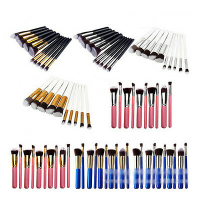 10PCS Pro Makeup Cosmetic Eyeshadow Brushes Set Powder Foundation Lip Brush Tool