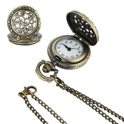 Vintage Style Star Embossed Flower Pocket Watch Pendant Necklace Chain HE8Y