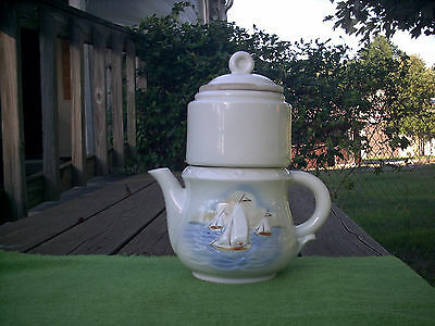 Vintage Porcelier Vitreous China Drip Coffee/Tea Maker with Sailboats