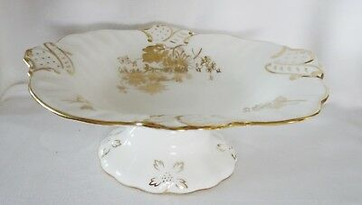 HAMMERSLEY England  stunning gold floral  on white PEDESTAL footed BOWL