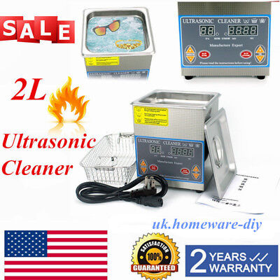 Stainless Steel 2L Digital Industrial Heated Ultrasonic Cleaner w/ Tank Timer US