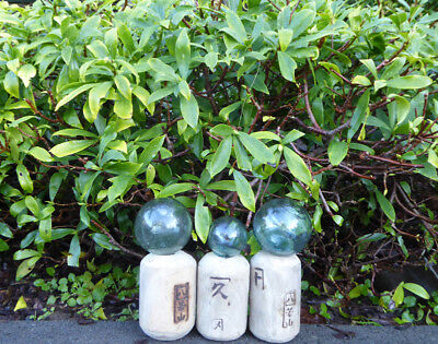 # 2 Vintage Japanese Glass and Wood Fishing Float Combo
