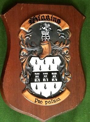 "Vintage 8"" Wood Wall Plaque ""Higgins"" Crest"