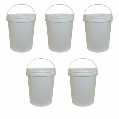 5 x 25 Litre Plastic Bucket White Storage Food Home Brew Garden Kitchen