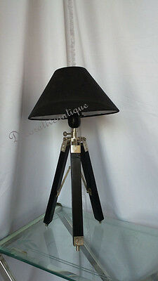 Vintage Lamp With Black Tripod Stand Antique Style Mini Nickle Table Lamp