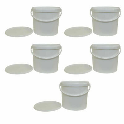 5 x 12.5 Litre Plastic Bucket White Storage Food Grade Home Brew Paint Garden