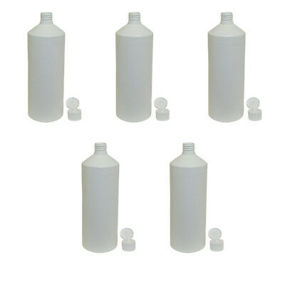 5 x 1 Litre Plastic Bottle White for Food Juice Arts and Crafts Kitchen