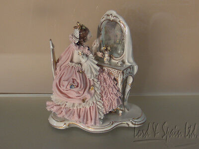 Dresden Lace Lady Sitting at Dressing Table Figurine- #2522