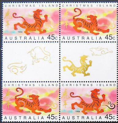 1998 Christmas Island Stamps - Lunar New Year- Year of Tiger-Gutter Set 2x2 MNH