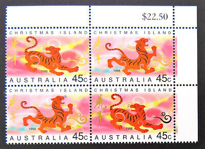 1998 Christmas Island Stamps - Lunar New Year-Year of Tiger-Cnr Set 2x2 MNH