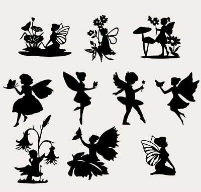 10 X Mixed Small Fairies Silhouette Cuts For Fairy Lanterns Card Toppers