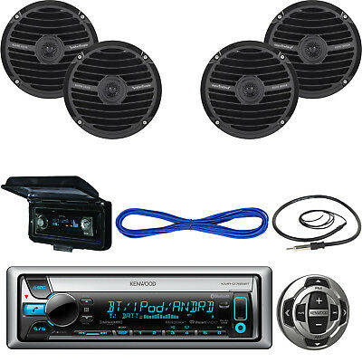"""Kenwood Marine Receiver, Wired Remote, 2X 6.5""""Speakers, Wire, Antenna, Cover"""