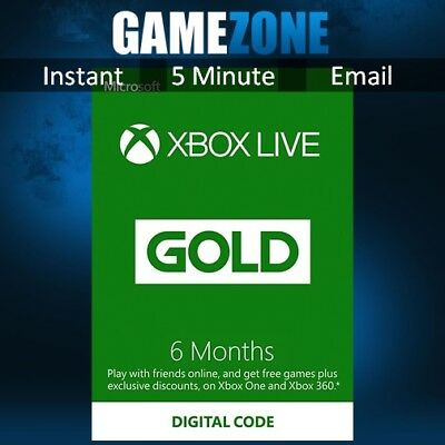 6 Month Xbox Live Gold Membership For Microsoft Xbox One / Xbox 360 Worldwide