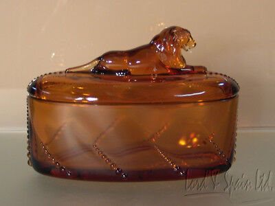 Heisey Waverly Line Amber Lion Finial Box-Made by Imperial for Collectors Guild