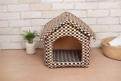 L Size Pet Cat Dog House Bed Storage With Soft Removable Cushion Coffee Plaid