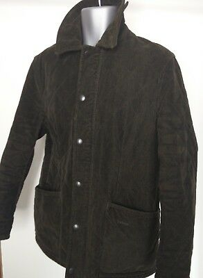 Mens Barbour Fine Hunting Green Cord Quilted Jacket D86 Coat Medium M