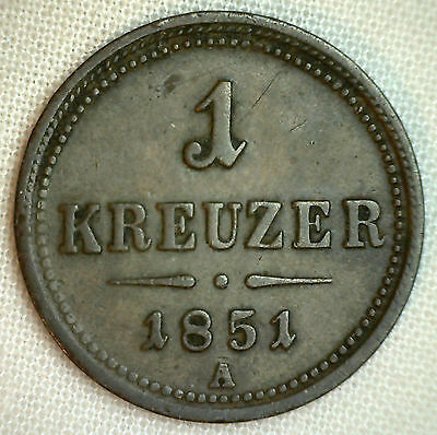 1851 A Copper Austria One 1 Kreuzer Coin Currency YG