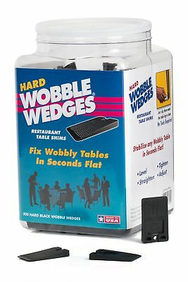 Wobble Wedge - Hard Black - Restaurant Table Shims - 300 Piece Jar