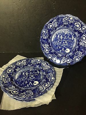 """SET 5 Antique 10"""" Ridgway Pickwick Chas Dickens Blue dinner Plates """"election"""""""