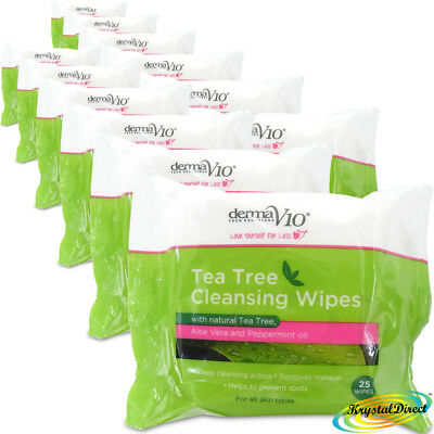 12x Tea Tree Cleansing  Remove Skin Dirt Excess Oil Make Up Spots 25 Face Wipes