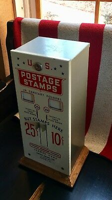 Vintage 60s USPS STAMP VENDING MACHINE W/KEY COLLECTIBLE
