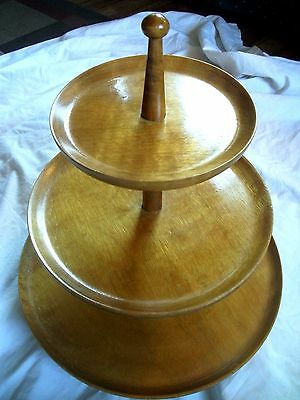 Vintage Mid Century Modern Three Tier Wood Serving Tray Light Colored