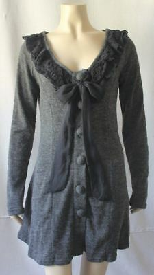 Modcloth A'REVE By Ryu Crochet Lace Ruffle Bow Long Cardigan Sweater, Small S