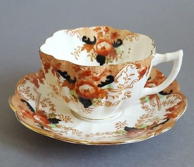 Antique Tea Cup & Saucer marked M&S to base 19th century :A2