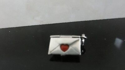 Antique Extremely Rare Envelope Heart Stamp 835 German Silver Enamel Charm Fob