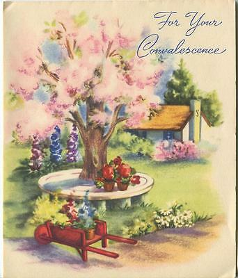 Vintage Spring Season Pink Blossoms Flowers Tree Potted Plants Gardener Card