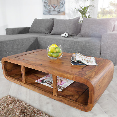 Massiver Couchtisch CURVED Sheesham Holz Stone Finish TV-Lowboard Board