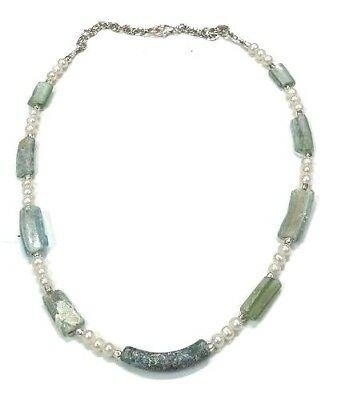 Authentic Roman Glass Sterling Silver 925 Fragments 200 B.C W. Pearls Necklace