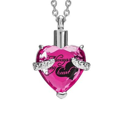 SmartChoice Keepsake Rhinestone Necklace Heart Pendant for Cremation Ashes wi...
